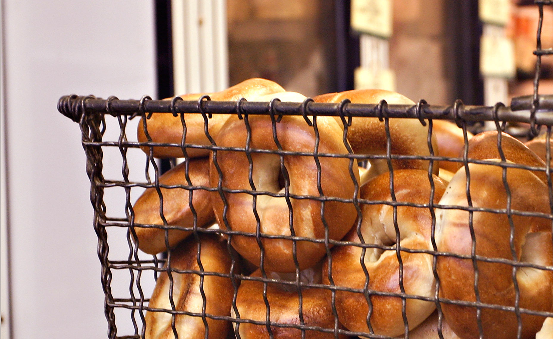 Bagels in wire basket