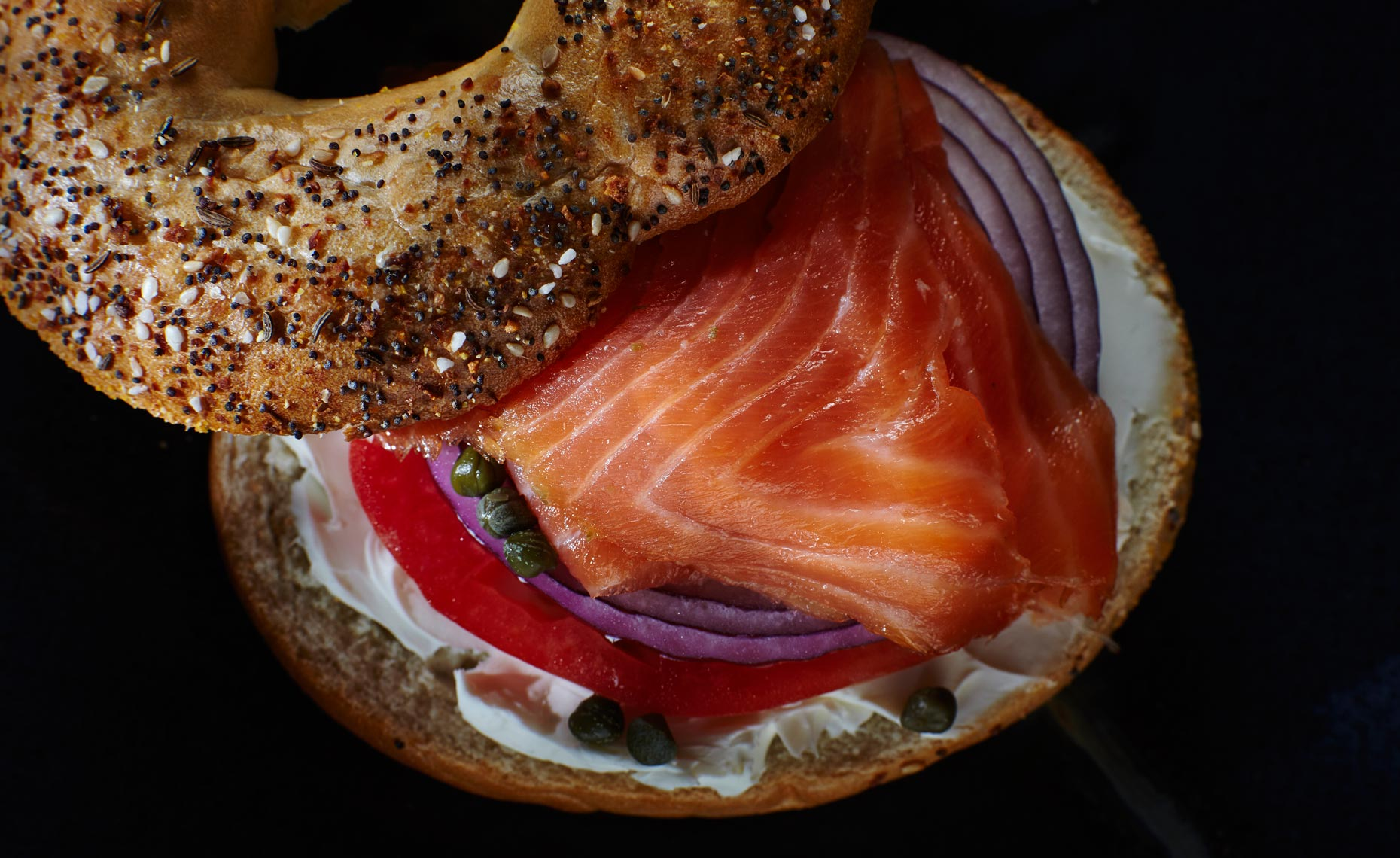 Smoked salmon on an everything bagel
