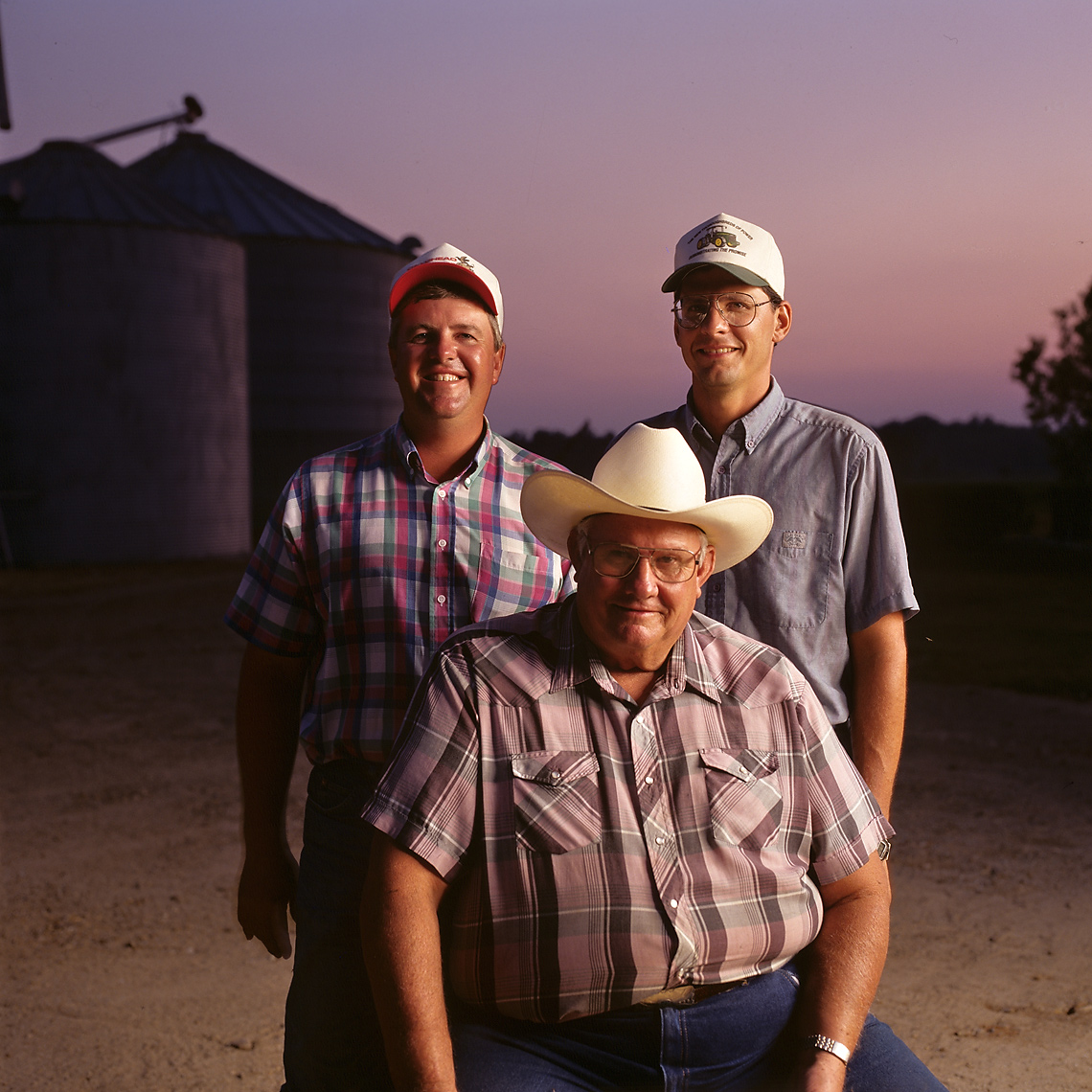 Three members of an Arkansas farm family